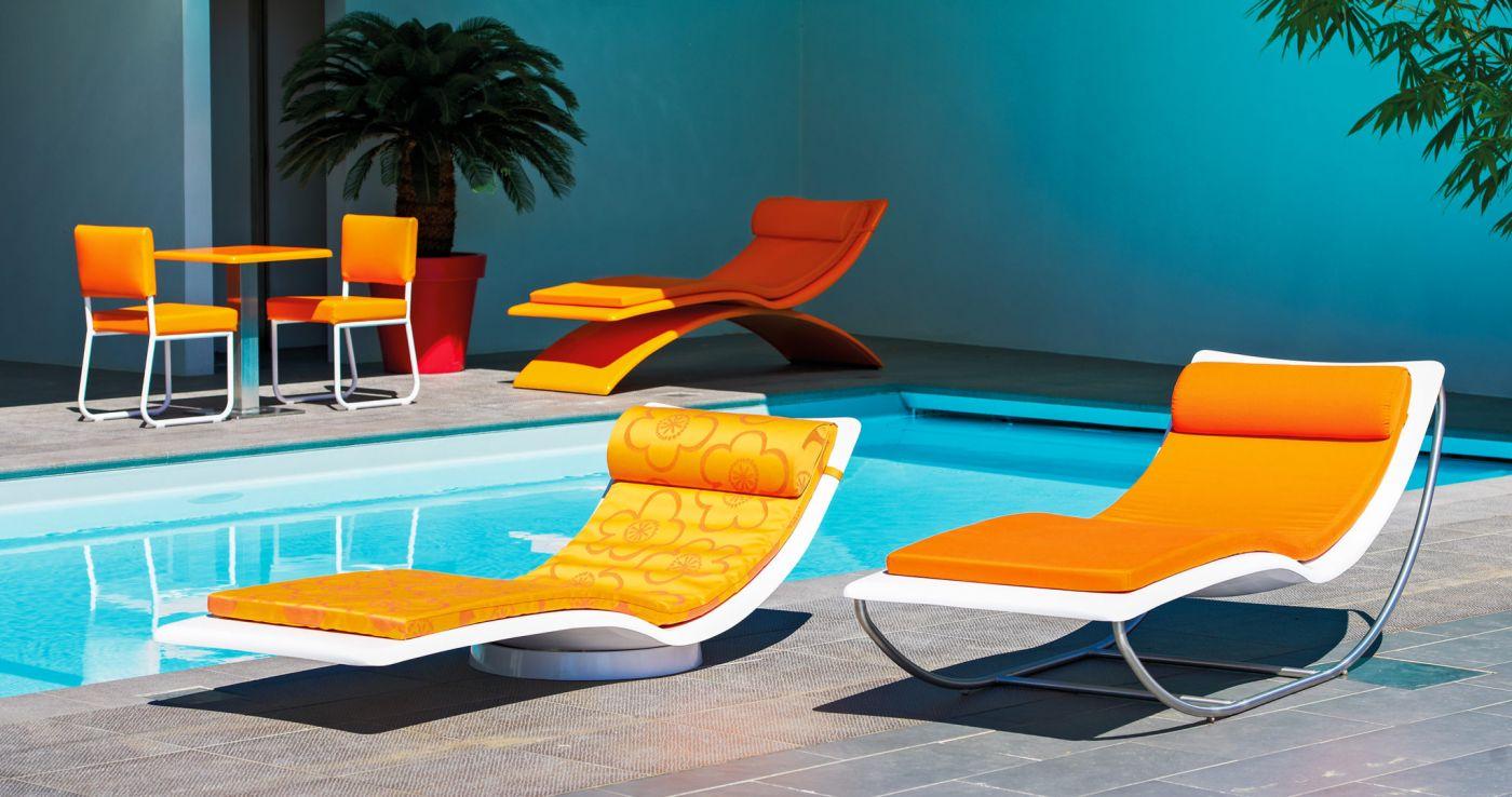 bain de soleil design confortable pivotant, modèle bulle | art mely