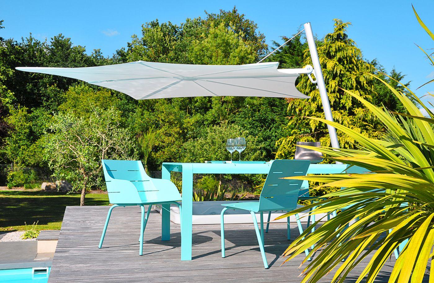 chaise jardin aluminium design bleu pour terrasse