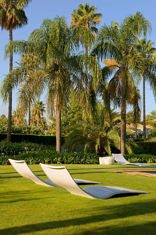 bain de soleil confortable ivoire pour jardin