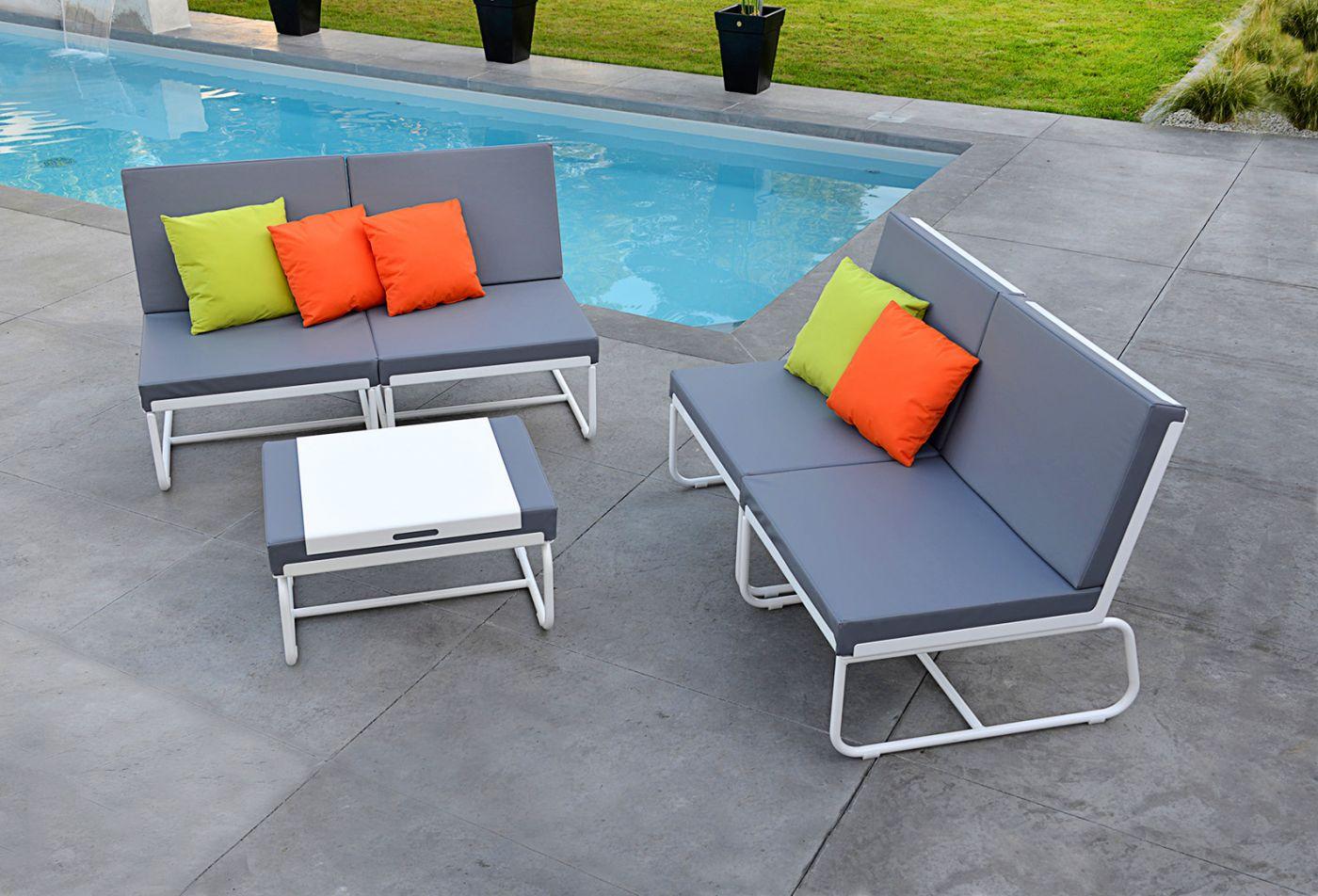 Pouf terrasse design cuir-marin aluminium PURE PIKS Art'Mely
