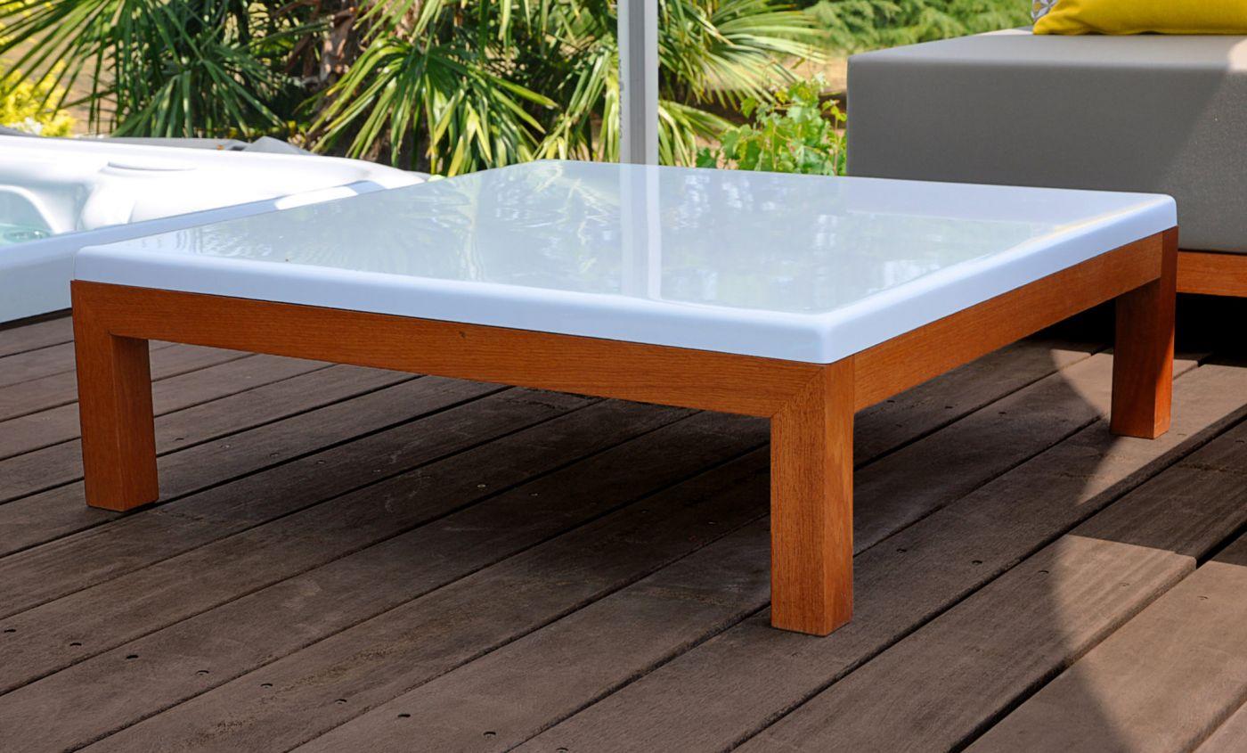 Table basse de jardin design carré 90 X 90,collection Fjord | Art Mely