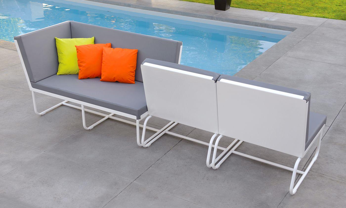 Méridienne de jardin design aluminium cuir-marin PURE PIKS Art'Mely