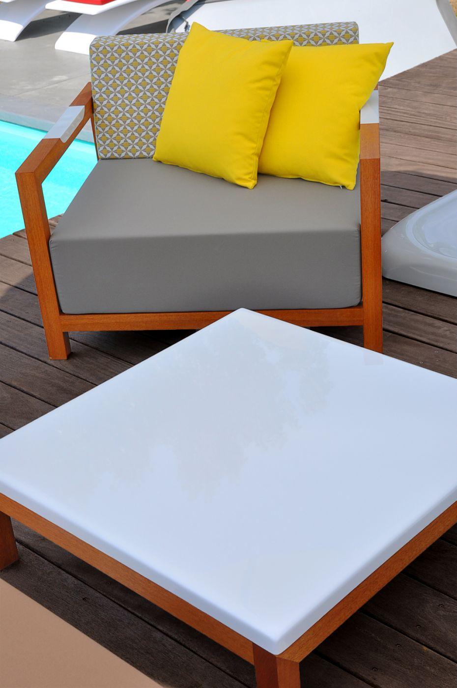 Table basse de jardin design carrée FJORD Art'Mely