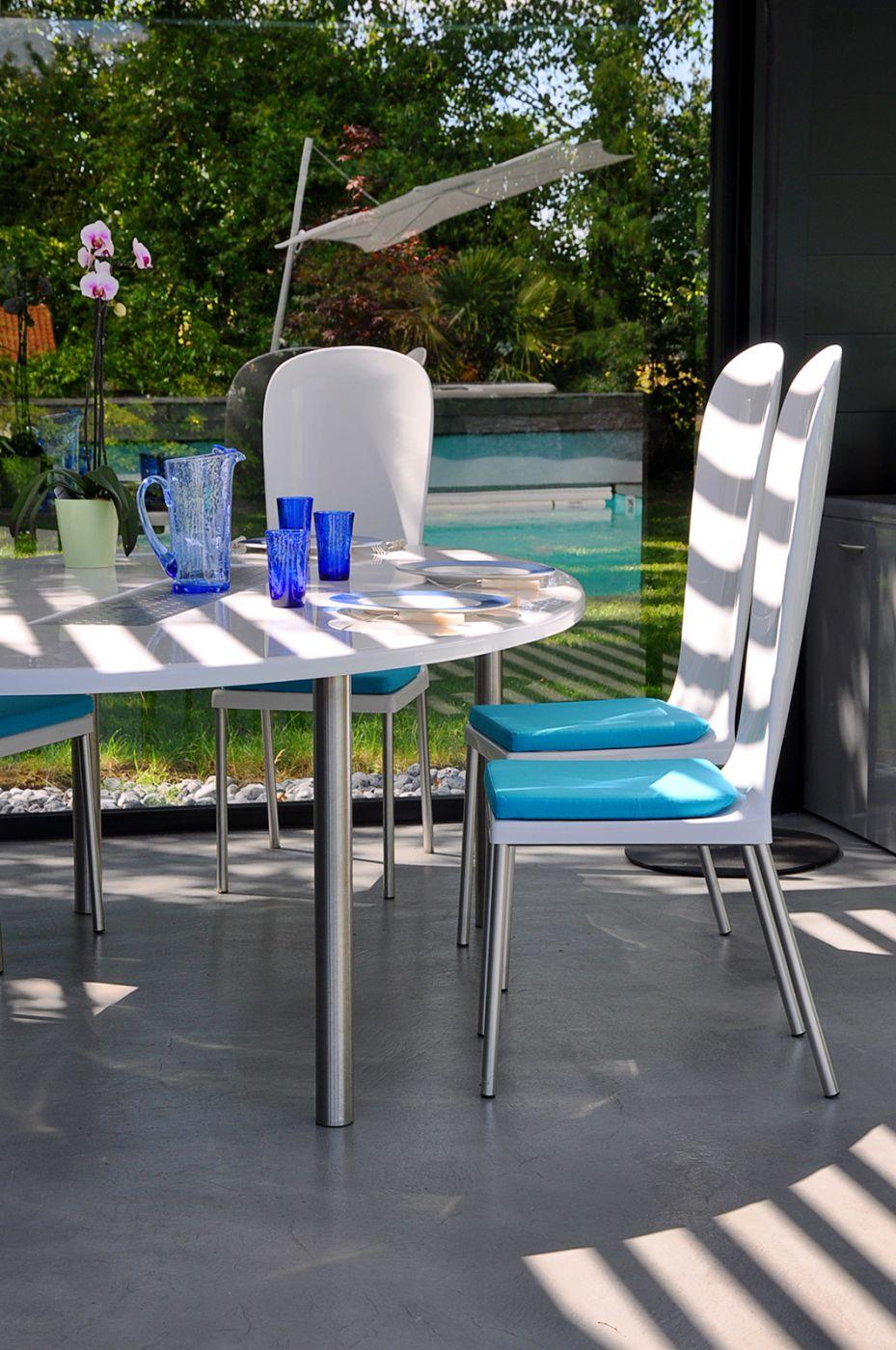 Chaise jardin design composite et inox, modèle élégant Dali | Art Mely