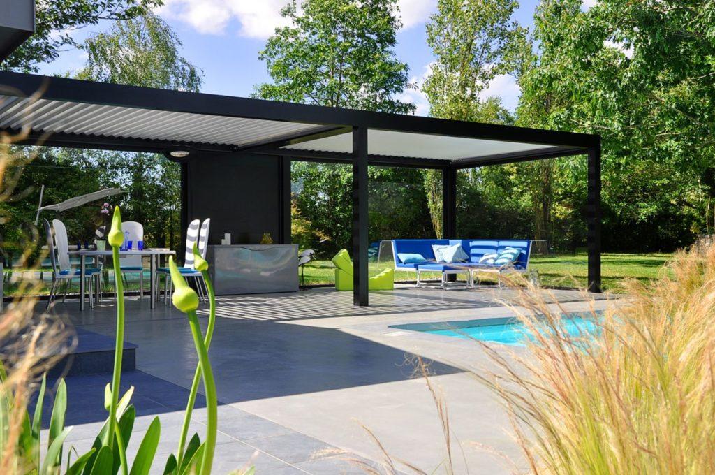 salon de jardin design bleu en aluminium